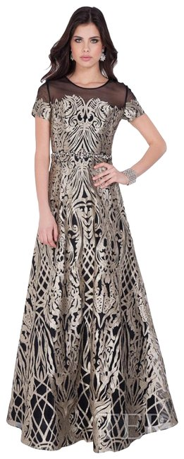 Item - Black and Silver/Gold 1622e1568 Long Formal Dress Size 8 (M)