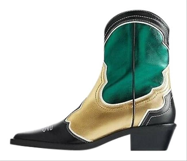 Item - Multicolor Pieced Leather Cowboy Green/Gold/Black Boots/Booties Size US 6.5 Regular (M, B)