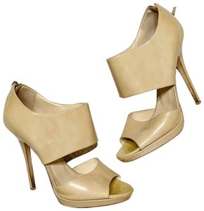 Jimmy Choo Nude Stiletto Patent Leather Peeptoe Beige Platforms
