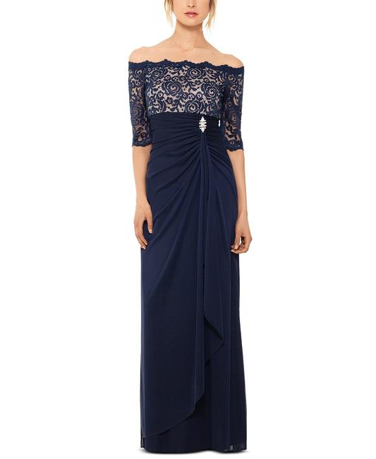 Item - Navy/Nude By Off-the-shoulder Lace Gown Navy/Nude Long Formal Dress Size 6 (S)