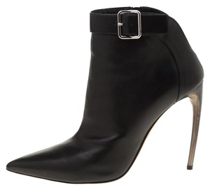 Alexander McQueen Leather Pointed Toe Ankle Black Boots