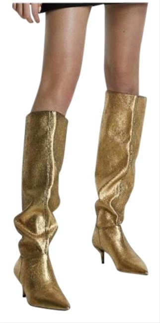 Item - Gold Metallic Tall Stretch Leg Kitten 6/36 New Boots/Booties Size US 6 Regular (M, B)