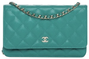 Chanel Leather Caviar Aqua Cross Body Bag