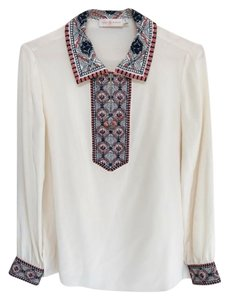 Tory Burch Embroidered Collar Silk Top Cream White