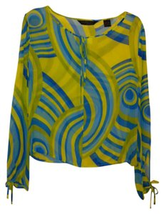 Express Sheer Silk Keyhole Print Top Two tones of bright Yellow, Light Blue, Bright Electric Blue