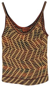 Missoni Fitted Dryclean Only Earth Tones Lightweight Patterned Top Brown