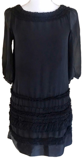 Item - Black Ruffle Shift Pleated Mid-length Cocktail Dress Size 4 (S)