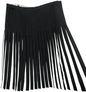 J.Crew Pleated Stripes Silk Theory Pleated Skirt Grey and White
