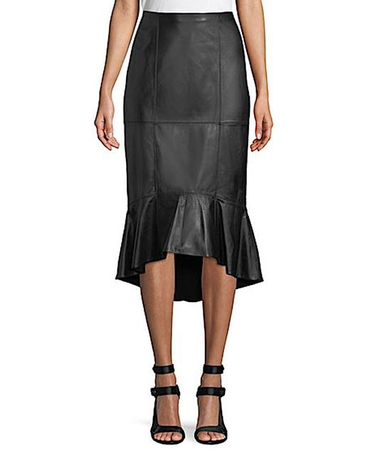 Item - Black with Tag Women's Ruffled Leather Skirt Size 4 (S, 27)