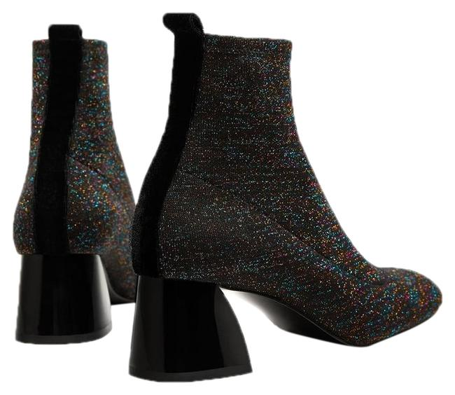 Item - Dark Gray with Shimmer Sock-style High Heel Ankle Boots/Booties Size US 8 Regular (M, B)