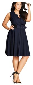 City Chic short dress Blue Fitandflare Belted Party Career on Tradesy