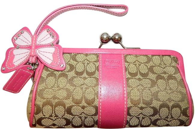 Item - ~rare~2005 Limited Edition Spring Kisslock with Large Buuterfly Brown/Pink/Silver Jacquard/Leather Wristlet