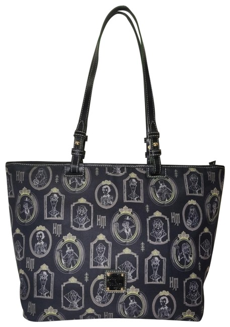 Item - Haunted Mansion Portrait Leisure Shopper Black and Green Nylon Leather Tote
