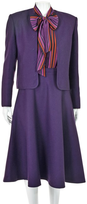 Item - Purple W Wool 1990s W/ Silk Blouse Skirt Suit Size 6 (S)