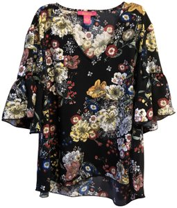 Catherine Malandrino 3/4 Sleeve Floral Hi-lo Print Xl Top Black Multi
