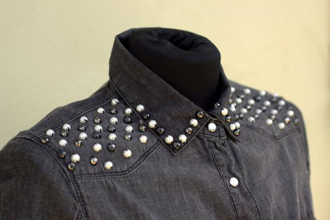 Ali & Kris Embellished Ombre Studded Button Down Shirt grey ombre