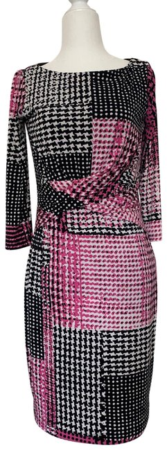 Item - Pink Black Gray White Jersey Long Sleeve Stretch Knit with Ruching Short Casual Dress Size 2 (XS)