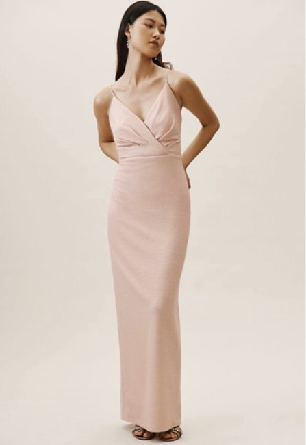 Item - Blush Polyester Rhodes Metallic Modern Bridesmaid/Mob Dress Size 4 (S)
