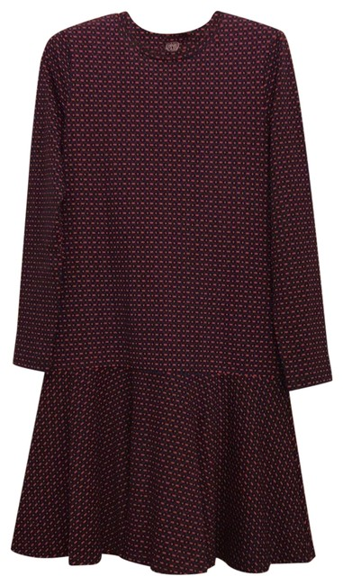 Item - Red Blue and Black Multi Printed Ruffled Mid-length Work/Office Dress Size 0 (XS)