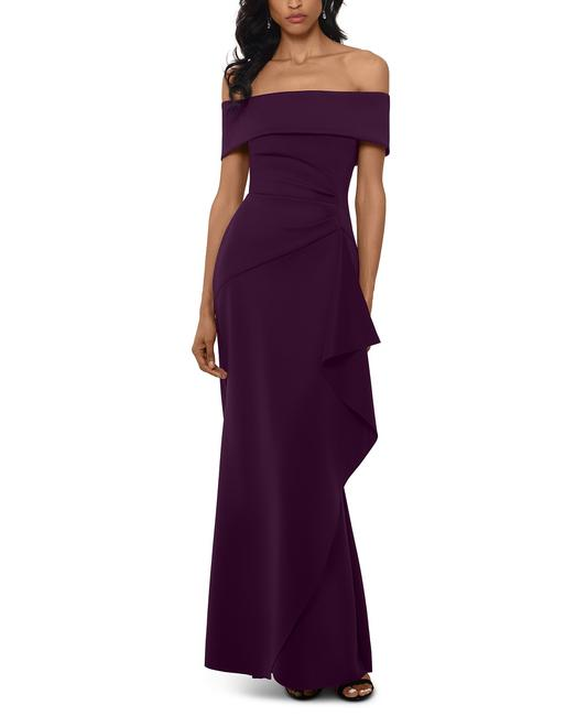 Item - Plum Purple Ruffled Off-the-shoulder Gown Long Formal Dress Size 4 (S)