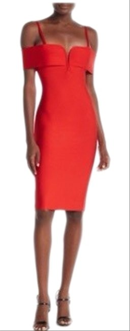 Item - Red Off-the-shoulder Bodycon Mid-length Night Out Dress Size 12 (L)