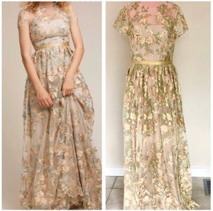 Monique Lhuillier Cream Gold and Green Anthropologie Bhldn Fontana Nwot Feminine Bridesmaid/Mob Dress Size 8 (M)