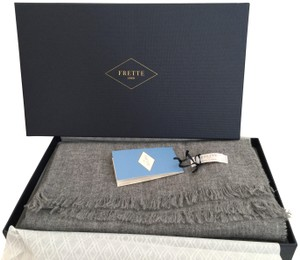 """Frette FRETTE Scarf Made in ITALY Solid Grey Wool Cashmere Blend 26x79"""" New"""