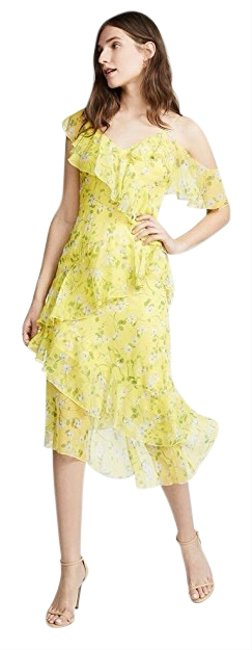 Item - Yellow Asymmetrical Floral Mid-length Cocktail Dress Size 4 (S)