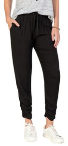 Blue Rain Jogger Casual Twill Ruched Ankle Capri/Cropped Pants Black