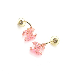 Chanel Chanel Pink Lucite CC Logo & Multicolored Crystal Stone Earrings