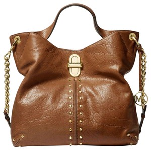 Michael Kors Uptown Ast0r Legacy Mk Studded Hardware Tote in WALNUT BROWN /GOLD