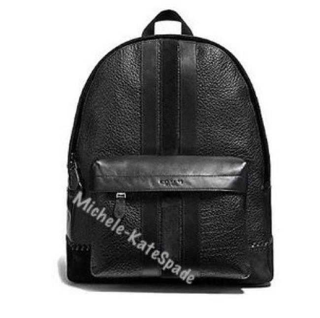 Item - Men's Charles with Baseball Stitch Black Calfskin Leather Backpack