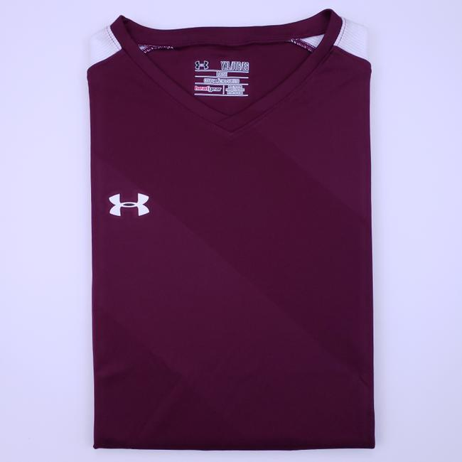 Item - Burgundy Maroon Yxl Tee White Youth Kids Boys New V Neck Shirt