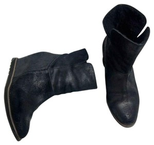 EMU Wedge Ankle Merino Wool Suede Black Boots