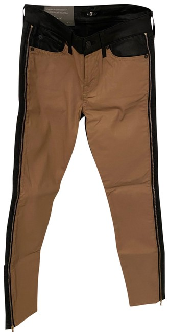 7 For All Mankind Black In Back Tan In Front Seven Pants Size 2 (XS, 26) 7 For All Mankind Black In Back Tan In Front Seven Pants Size 2 (XS, 26) Image 1