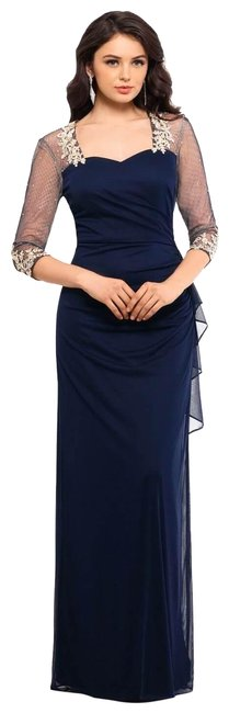 Item - Navy/Gold Mesh Sleeve Ruched Gown Navy/Gold Long Formal Dress Size 6 (S)