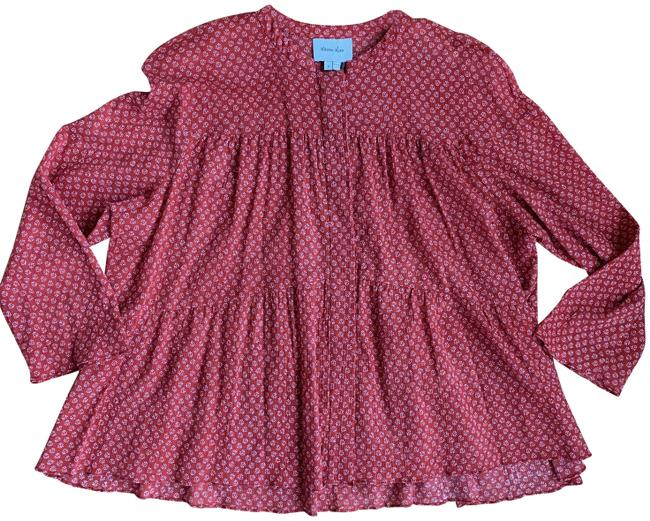 Item - Red Ivory Mesa Brick & Ditzy Print Blouse Size 4 (S)