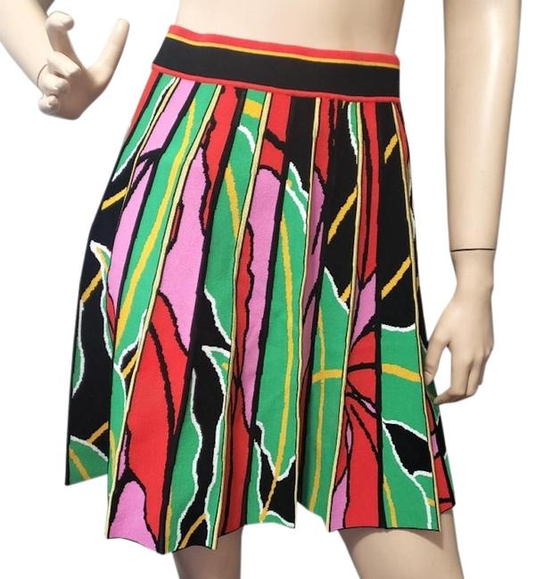 Item - Black Dvf Parker Knit Floral Pleated Colorblock Stretch Skirt Size 4 (S, 27)