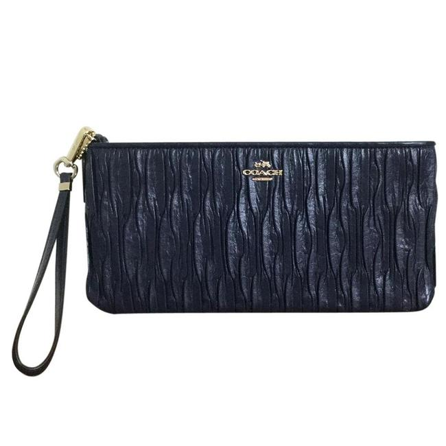 Item - Madison Gathered Navy Leather Clutch
