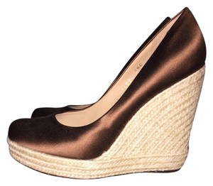 Salvatore Ferragamo Satin Brown Wedges