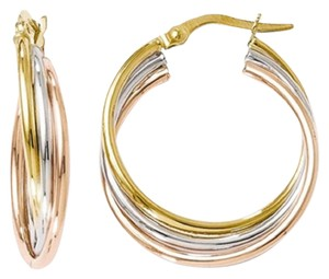 Apples of Gold 14K TRI-COLOR GOLD TWISTED HOOP EARRINGS