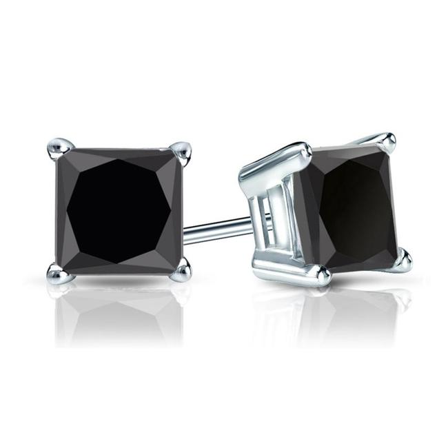 Item - White 4.20 Ct. Princess Cut Black Cubic Zirconia Sterling Silver Solitaire Earrings