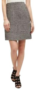 Harlyn White Striped Mini Skirt Black