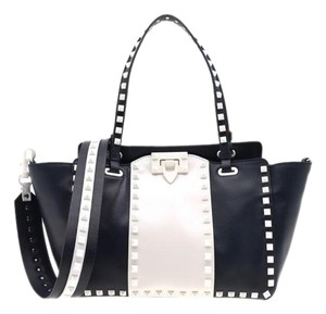 Valentino Free Rockstud Small Tote in Navy