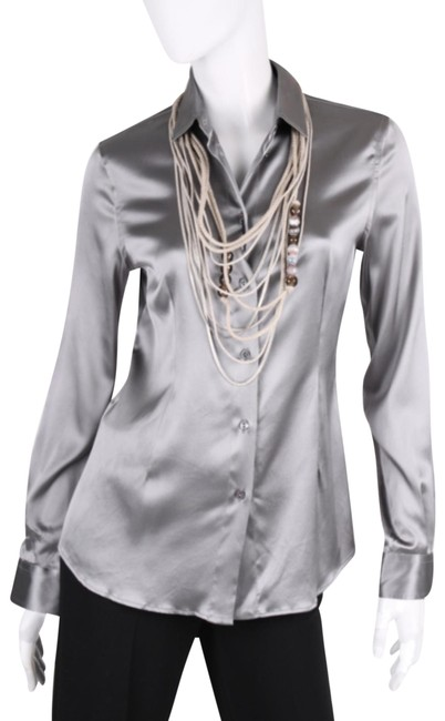 Item - Silver Grey Silk Blouse Button-down Top Size 8 (M)