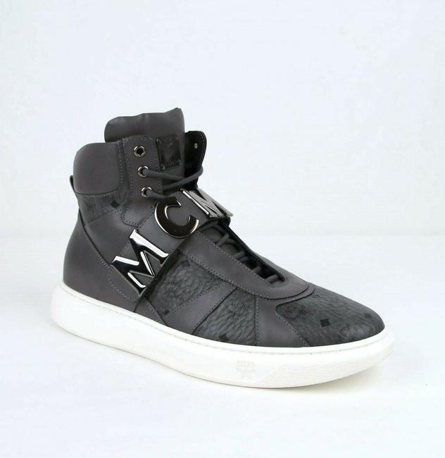 Item - Gray Leather Hi Top Sneaker with Large Silver Logo 45/Us 12 Mex8amm20eg0 Shoes