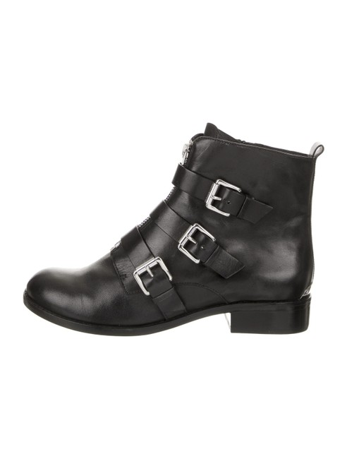 Item - Black Leather Triple Buckle Ankle Boots/Booties Size US 5 Regular (M, B)