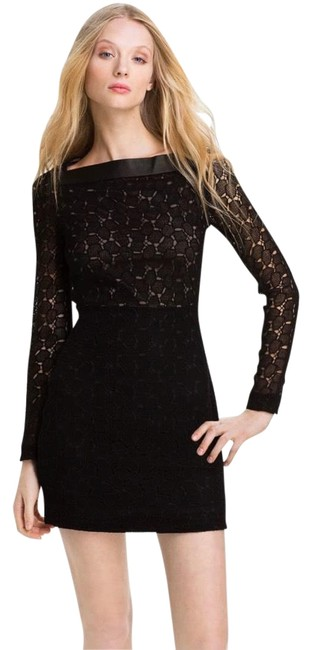Item - Black Beige Dvf New Sarita Pebble Lace Short Casual Dress Size 6 (S)