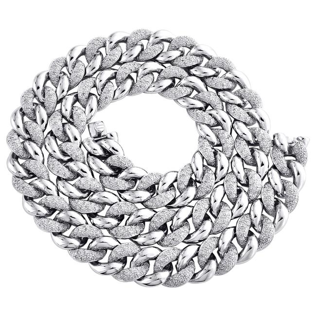 """Item - White Sterling Silver Diamond Miami Cuban Link 12mm Choker Chain 18"""" Pave 3.45 Ct. Necklace"""