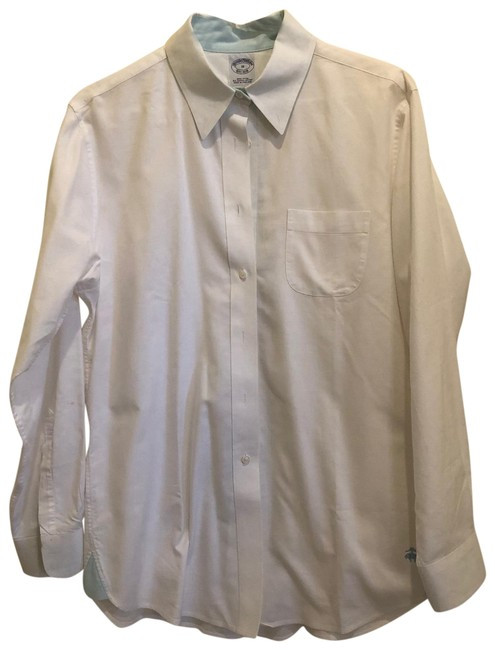 Item - White and Blue Tunic Button-down Top Size 10 (M)